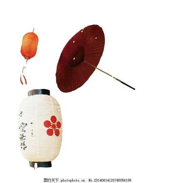 古风雨伞 灯笼