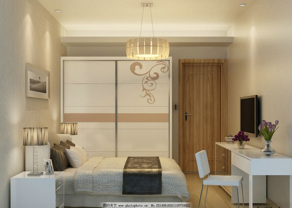 卧室3d效果图      3d        主卧 次卧 简约 小户型 简装 现代 便宜