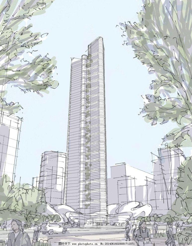 超高层建筑手绘透视图图片