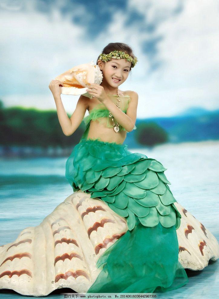 水精灵 美人鱼 儿童摄影 海的女儿 美少女 女孩 儿童幼儿 人物图库