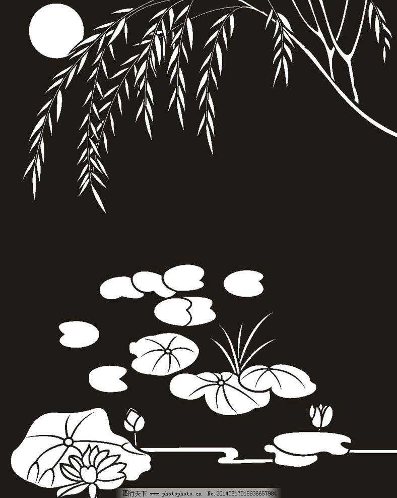 荷花 莲花 黑白图 线勾图图片