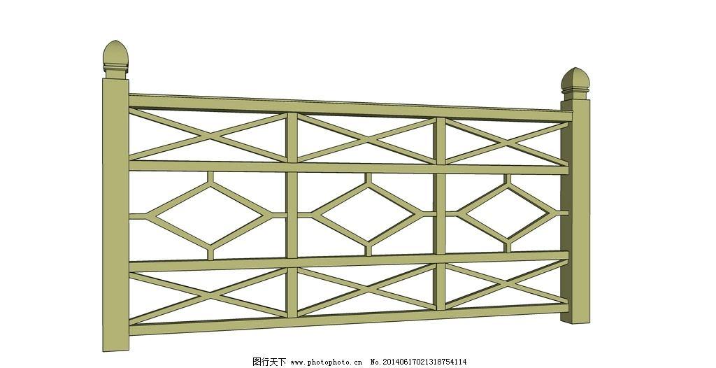 木栏杆 栅栏 围栏 护栏      室外模型 3d设计 设计 72dpi skp