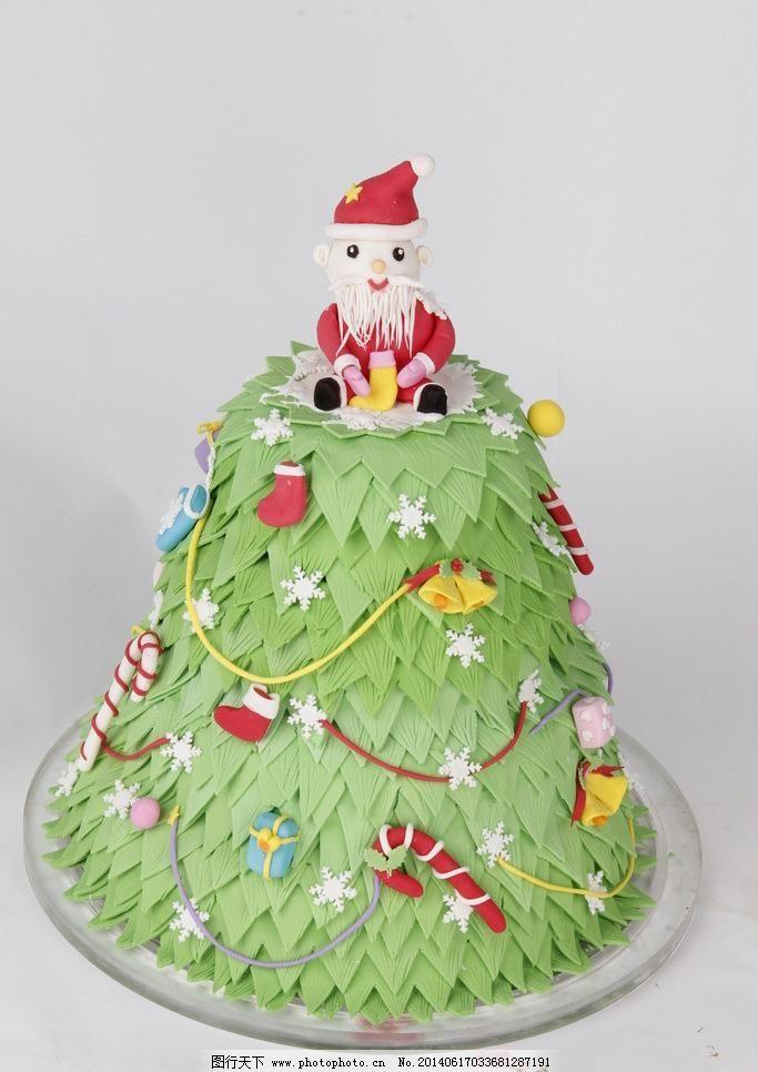 餐饮美食 蛋糕 翻糖蛋糕 美食 摄影 圣诞老人 圣诞树 西餐美食 翻糖