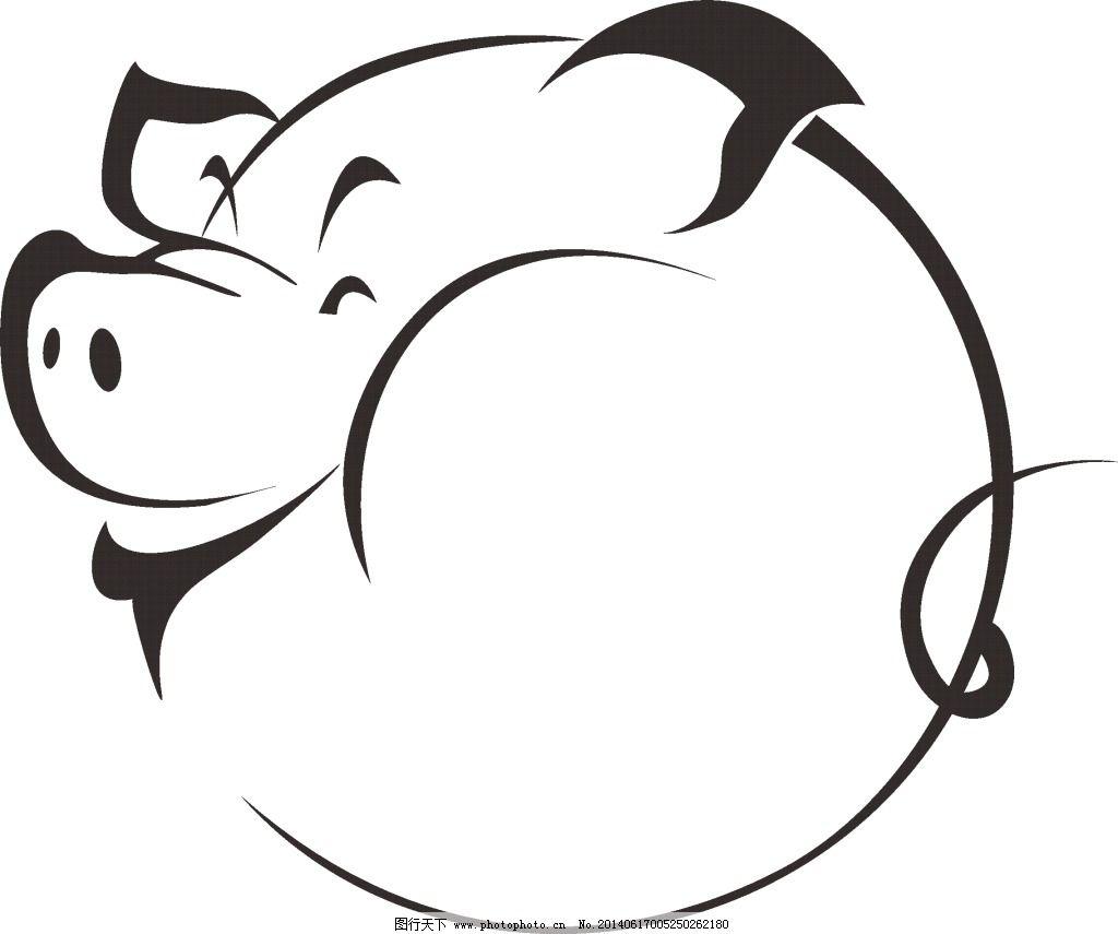 设计图库 矢量图 花纹花边  猪免费下载 板画 黑白 矢量素材 线描 猪图片