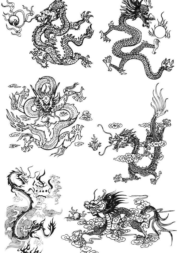 设计图库 高清素材 其他  中国龙凤图案免费下载 300dpi tif 传统