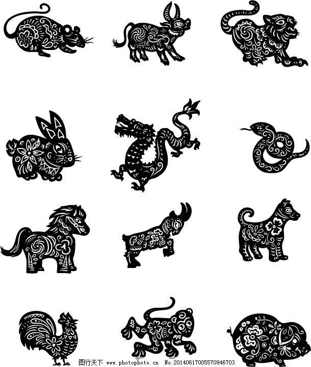 设计图库 动漫卡通 卡通动物  12生肖剪影矢量图免费下载 狗 猴 鸡图片