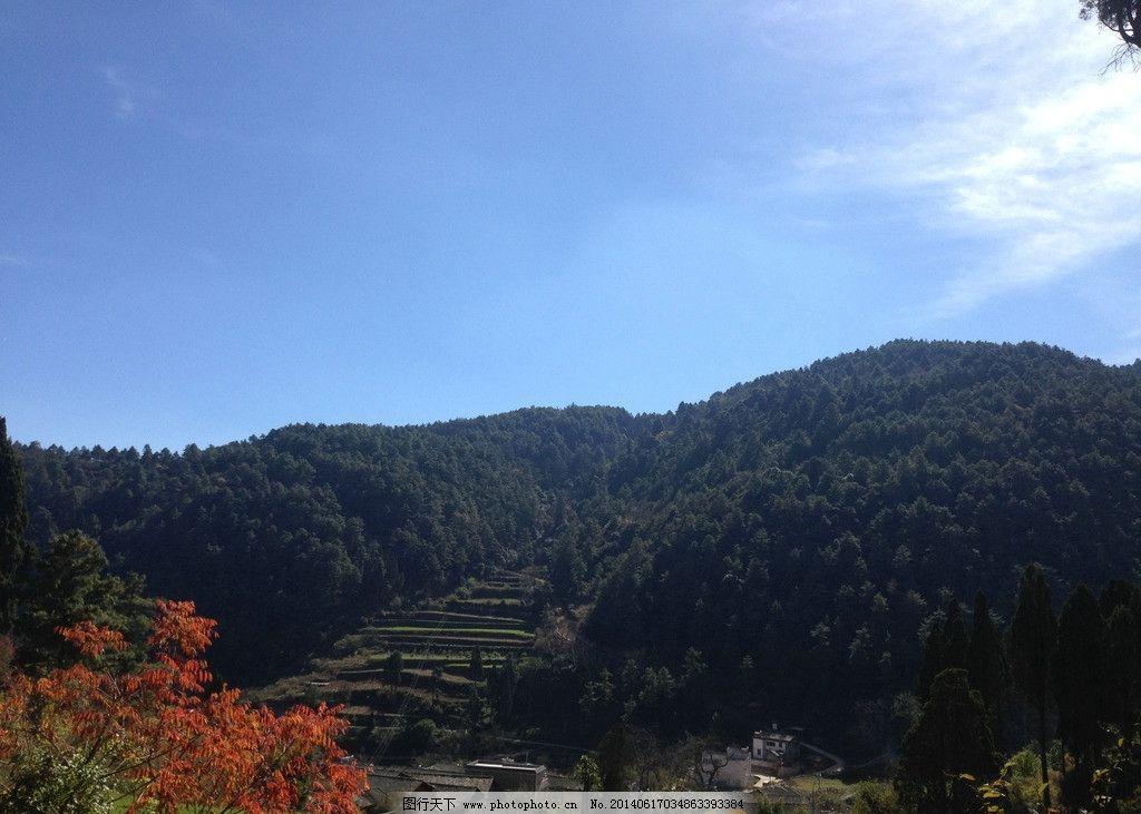 远眺 宁静村庄 蓝天白云 青山绿树 红花绿树 自然风景 自然景观 摄影