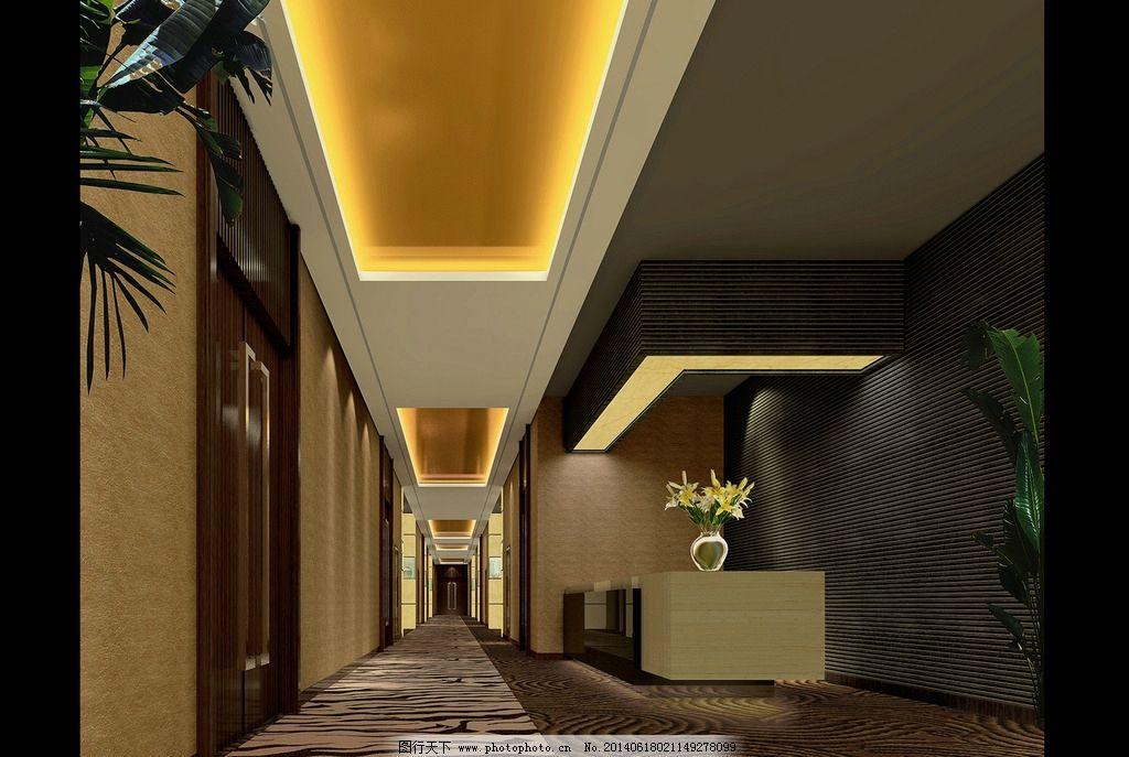 酒店走廊 室内设计 装饰设计 3d建模 空间感 材料 灯光 3d作品 3d设计