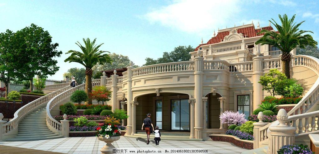 别墅建筑景观设计效果图 别墅 建筑 景观 设计        室外模型 3d