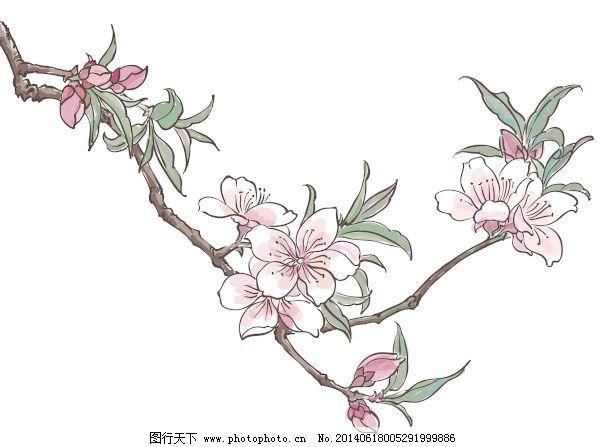 手绘桃花创意矢量图形