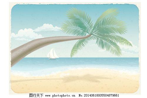 热带海滩旅游背景的艺术
