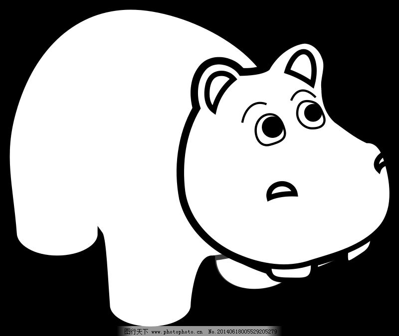 河马的线条艺术免费下载 动物 河马 卡通 卡通 河马 动物 白色的 黑色