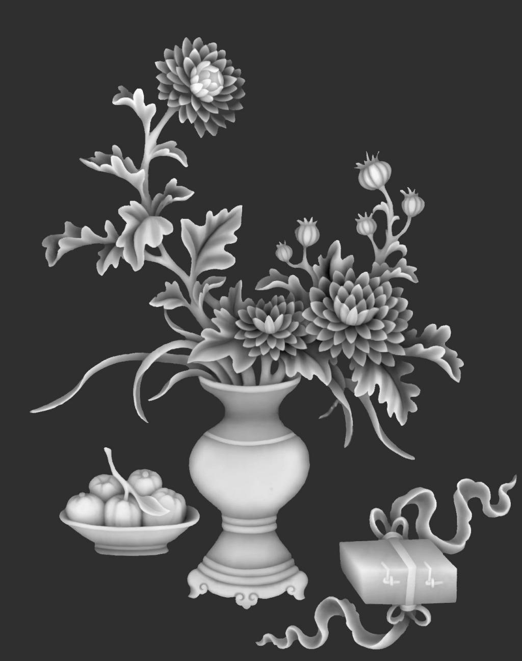 精雕图 菊花花瓶灰度图