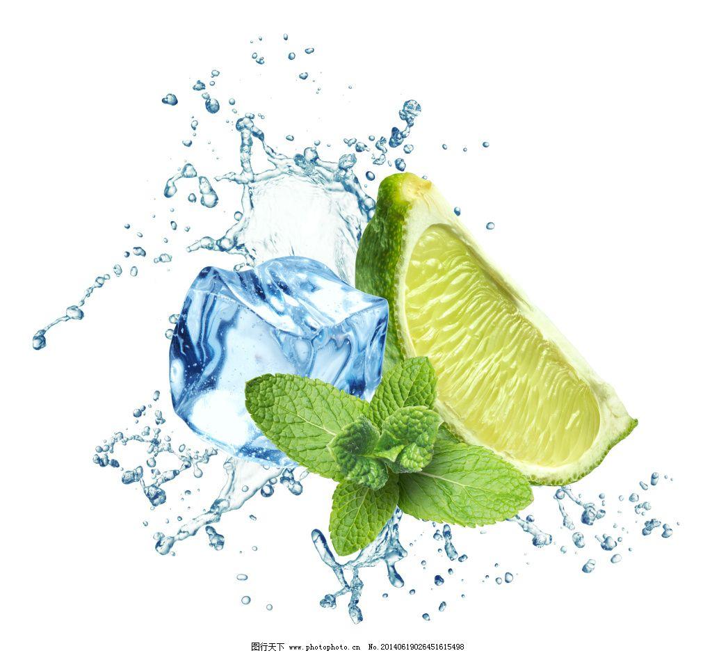 冰块 飞溅 绿叶 柠檬 青柠檬 水滴 水花 水珠 叶子 青柠檬 柠檬 绿叶
