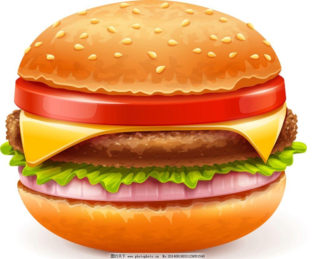 汉堡面包 手绘 三明治 热狗 薯条 面包 蔬菜 生菜 西红柿 肉饼 肯德基