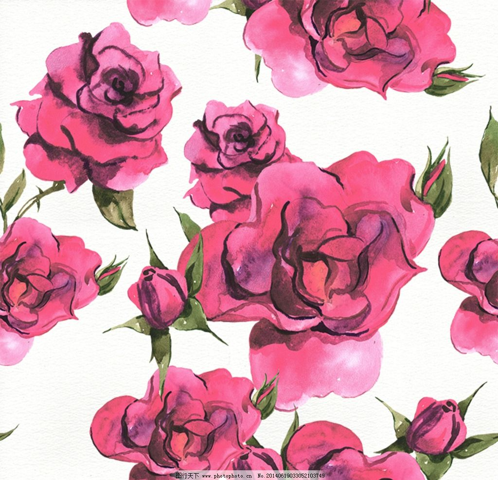 无缝纹理 背景底纹 插画 绘画 手绘 手绘花卉 玫瑰 玫瑰花 复古风格