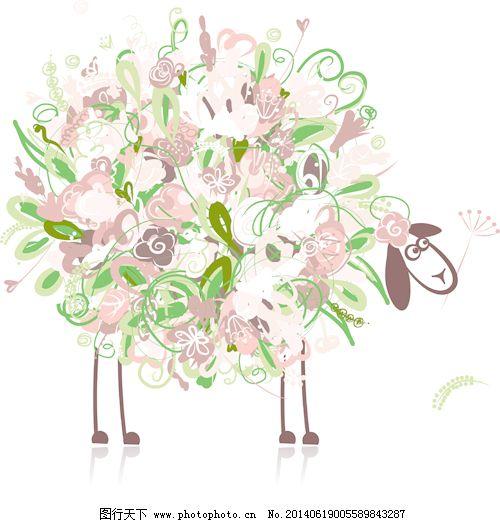 美丽的鲜花和动物设计矢量图01