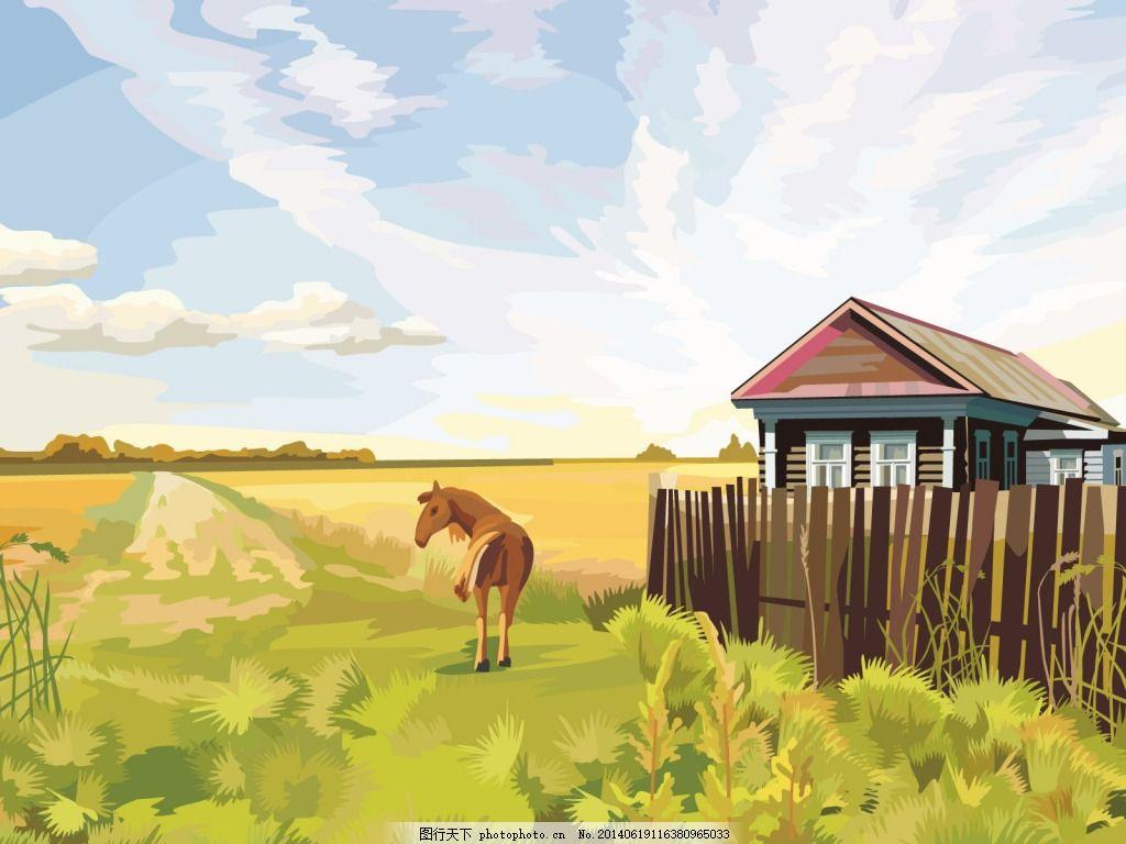 马儿房屋 天空 风景 草地 白色