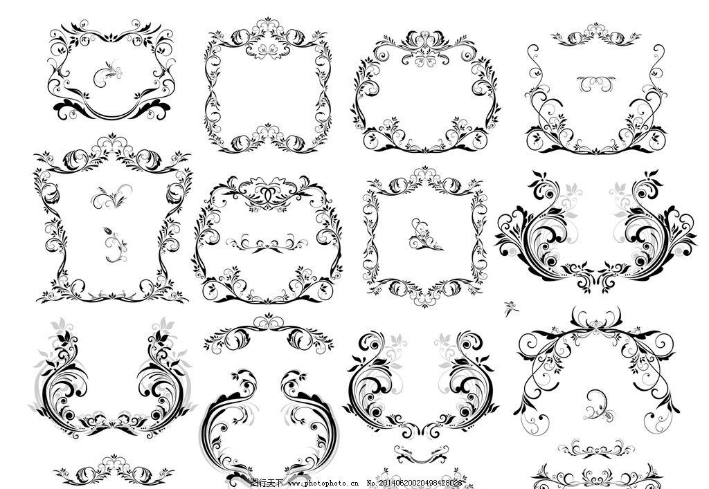手绘 角花 铁艺花纹 建筑雕塑花纹 线条 欧洲 墙绘 移门图案 边框相框