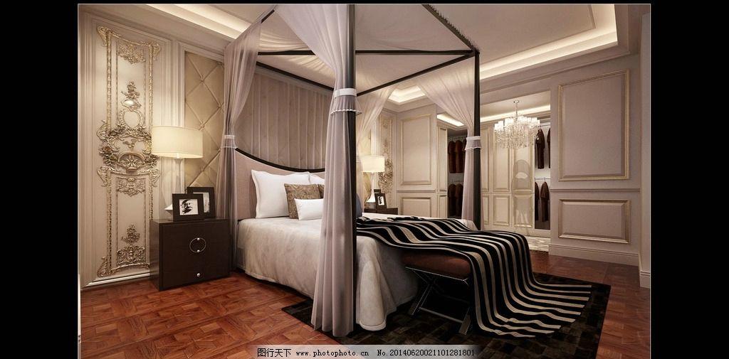 欧式卧室 床 护墙板 地板