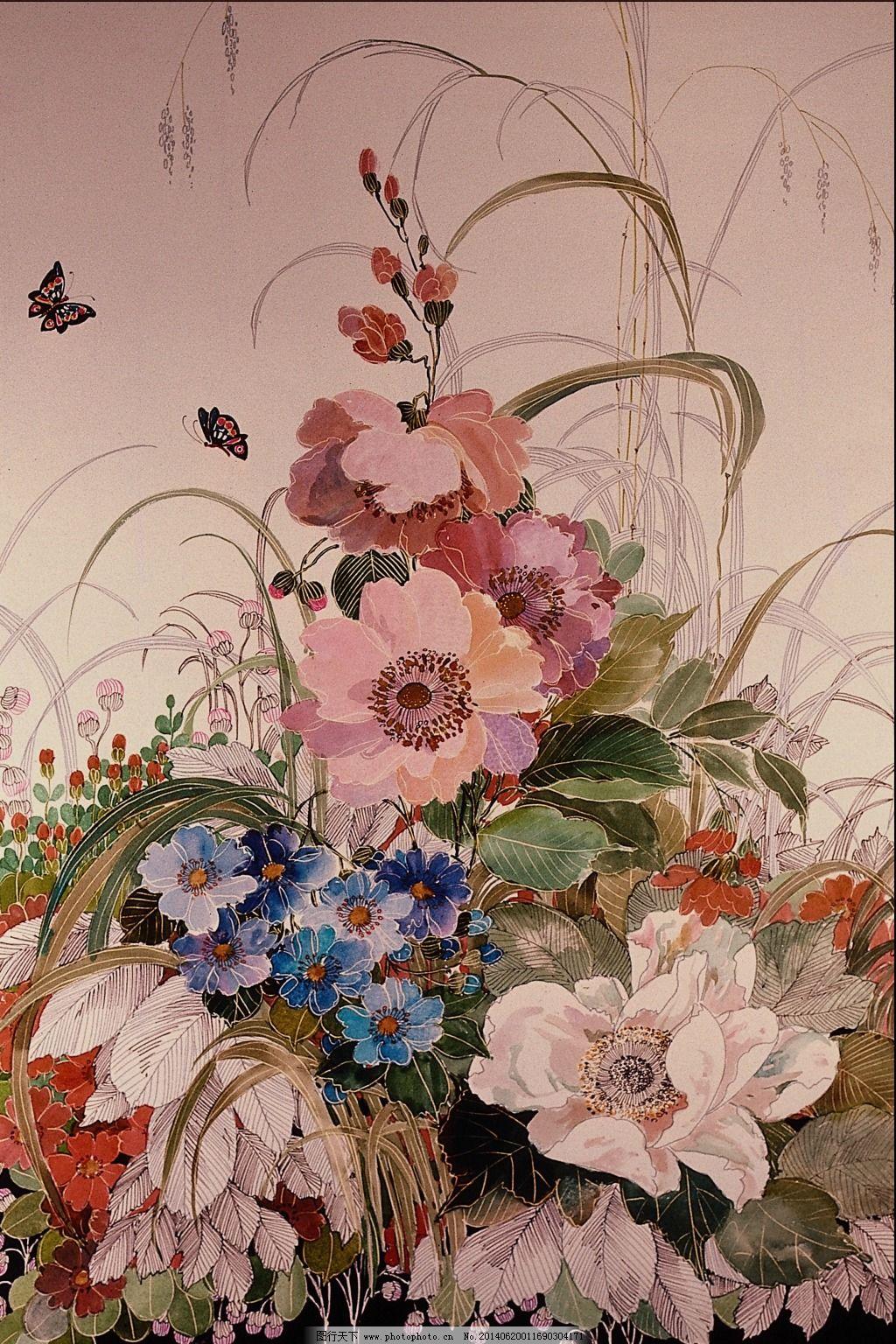 中国风蝶恋花手绘图免费下载 花卉 手绘 中国风 中国风 手绘 花卉