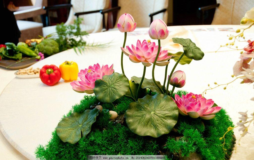 荷花 工艺品 装饰品 假山 手工 餐桌 荷叶 摄影照片 生活素材