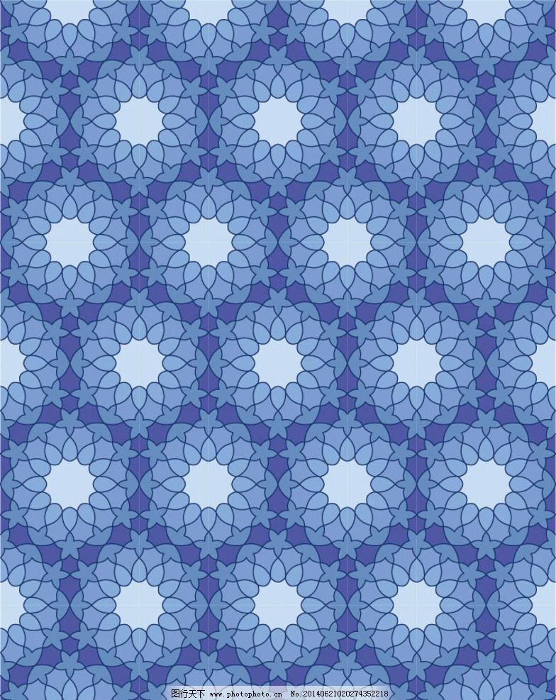 欧式蓝色花布纹贴图