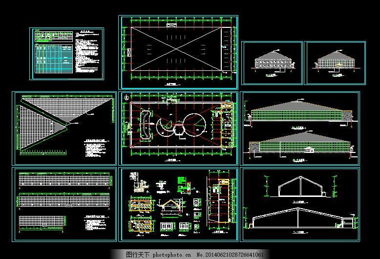 海珍品养殖大棚建筑图 养殖图纸施工图 黑色