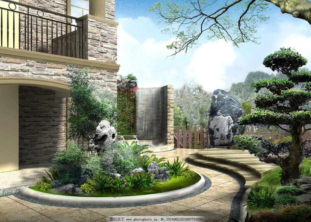 花园效果图 别墅花园效果 景观拼图 景观 园林 草地 光线 树木 建筑