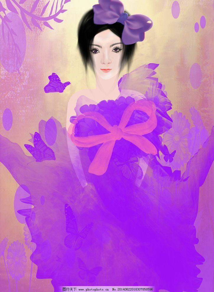 手绘美女 手绘 手绘美女素材 树叶 蝴蝶 花 牡丹花 蝴蝶结 衣服 背景