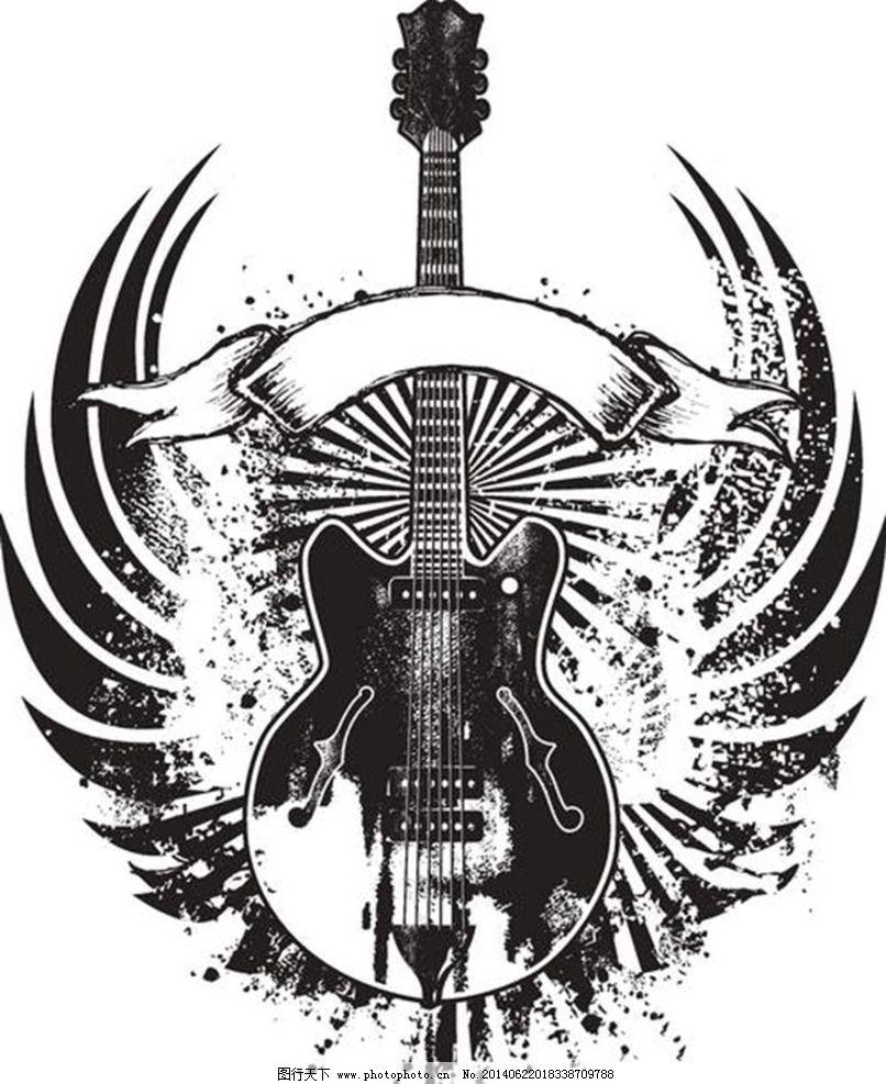 t恤图案 t恤花纹 电吉他 服装设计 哥特风格图案 纹身图案 欧美纹身