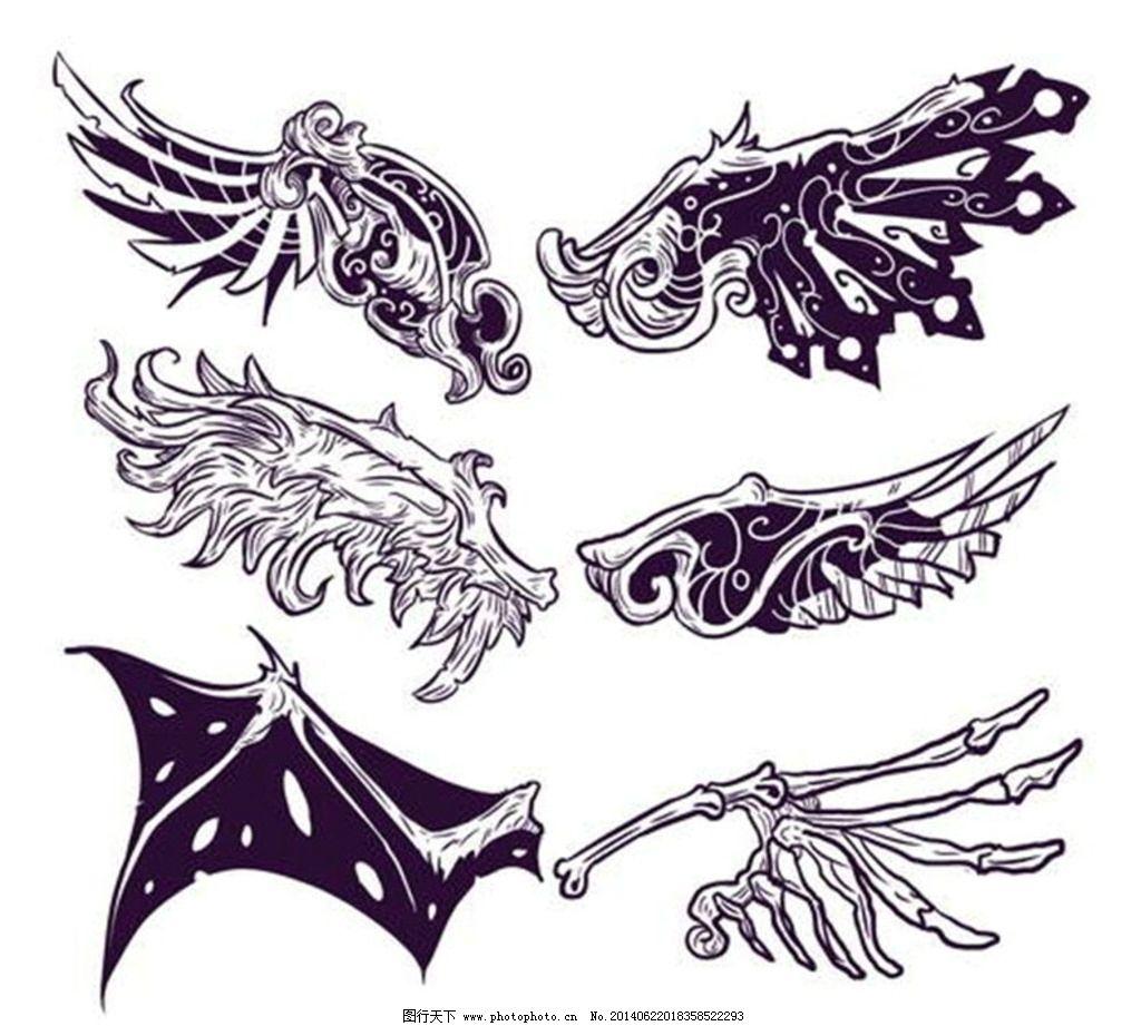 翅膀图案 翅膀 天使翅膀 恶魔翅膀 wing 纹身图案 t恤图案 卡通设计