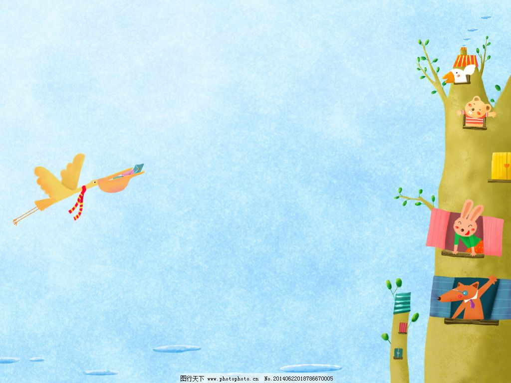 小动物树房子卡通背景