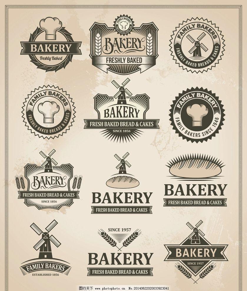 面包标签图片,营养 美食 小麦 麦穗 手绘 贴纸 怀旧