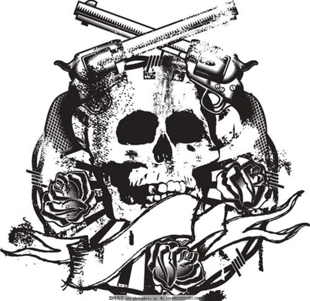 T恤图案 T恤花纹 骷髅 左轮手枪 T恤设计 服装设计 T恤 T恤样式 哥特风格图案 纹身图案 欧美纹身 欧式卡通 欧式设计 欧美设计 欧美恐怖风格 服装图案 卡通设计 广告设计 设计 EPS