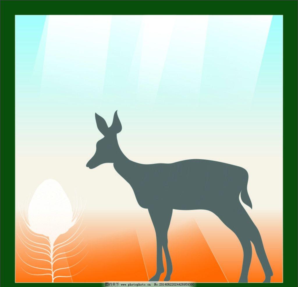 梅花鹿 动物 图案 背景 色彩 线条