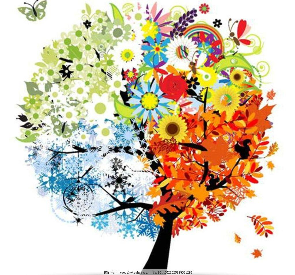 大树 一年四季 春夏秋图片
