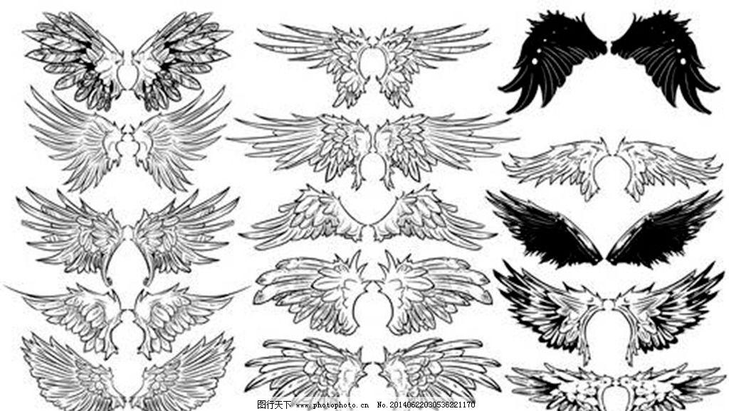 恶魔翅膀纹身简笔画 步骤