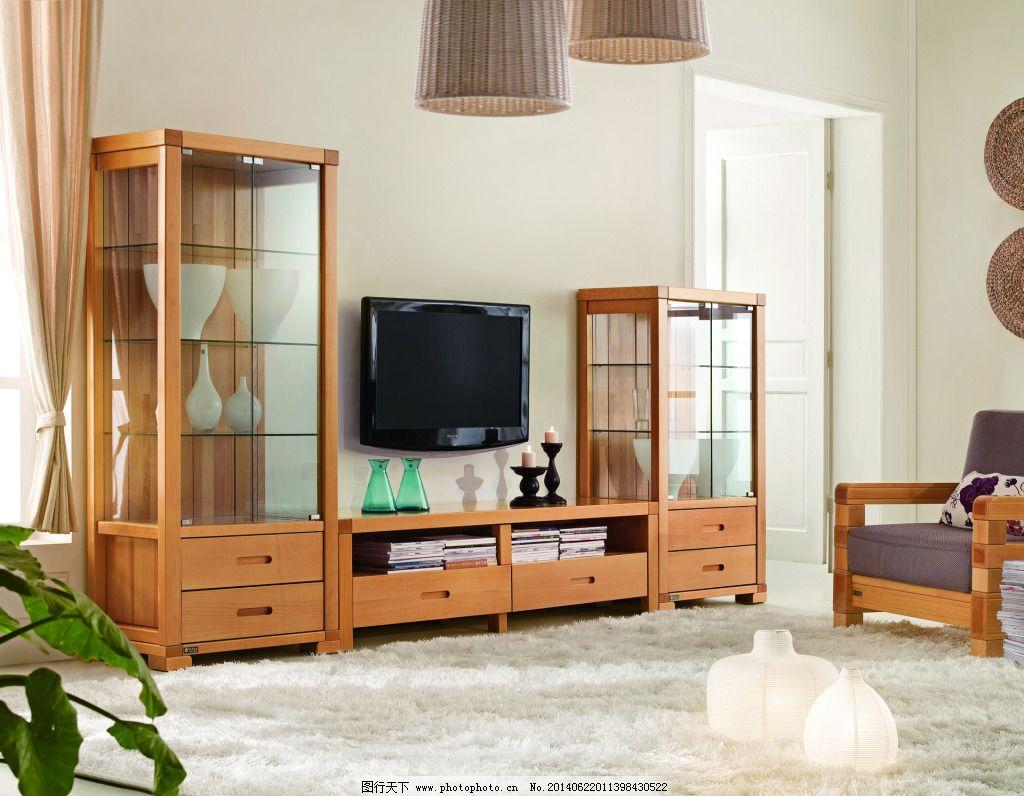 实木电视柜 实木电视柜背景 地毯 挂画 沙发椅 家居装饰素材 室内设计