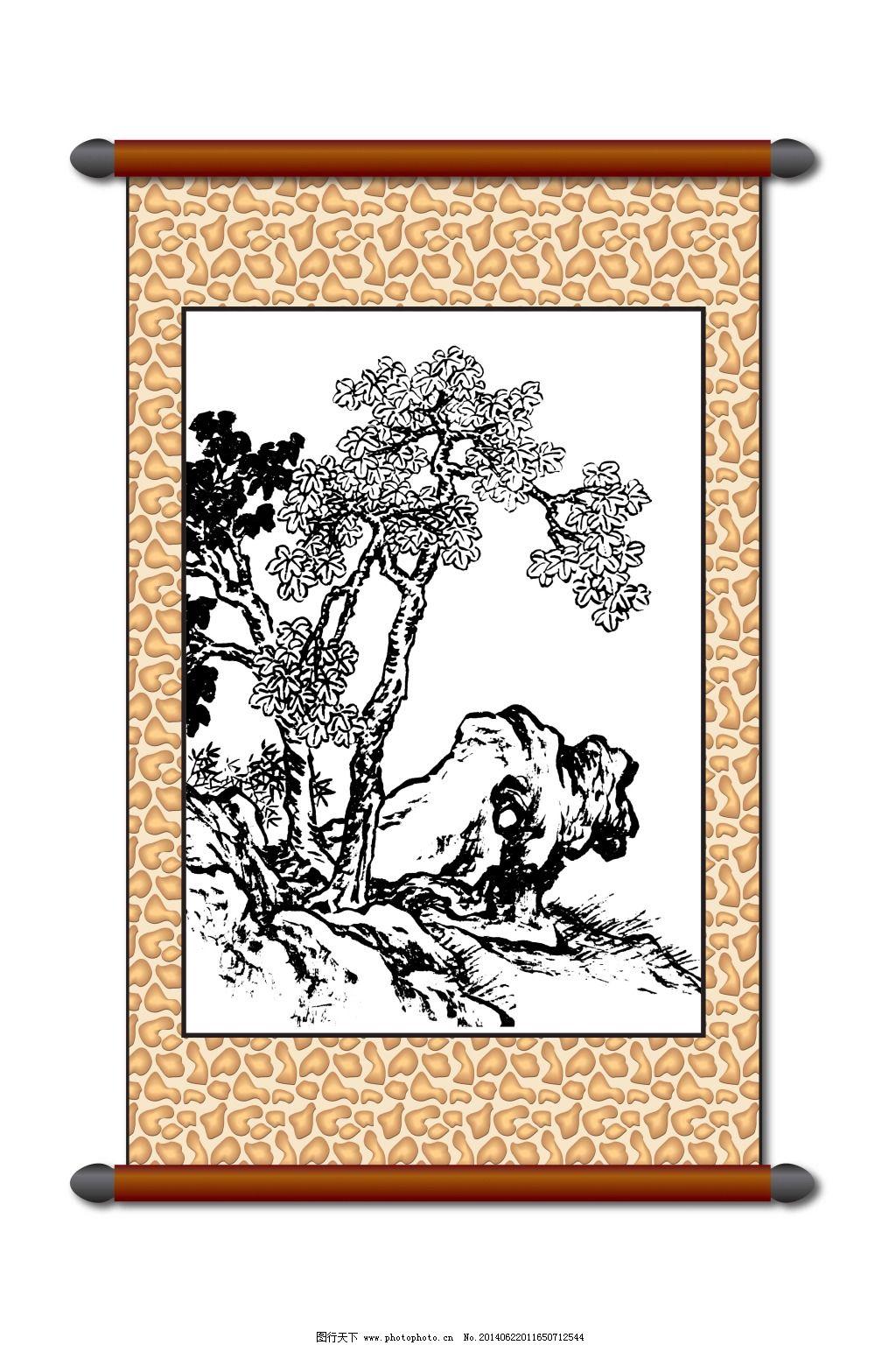 白描 白描山水 传统图案 刺绣 刺绣图案 风景画 工笔 挂画 画框