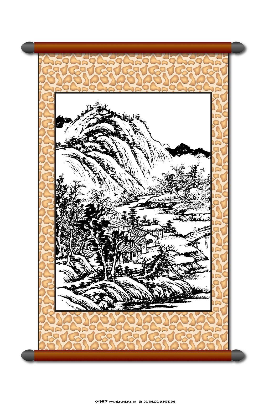 美术 白描 风景画 白描风景 山水画 古建筑 线描 工笔 美术 黑白稿