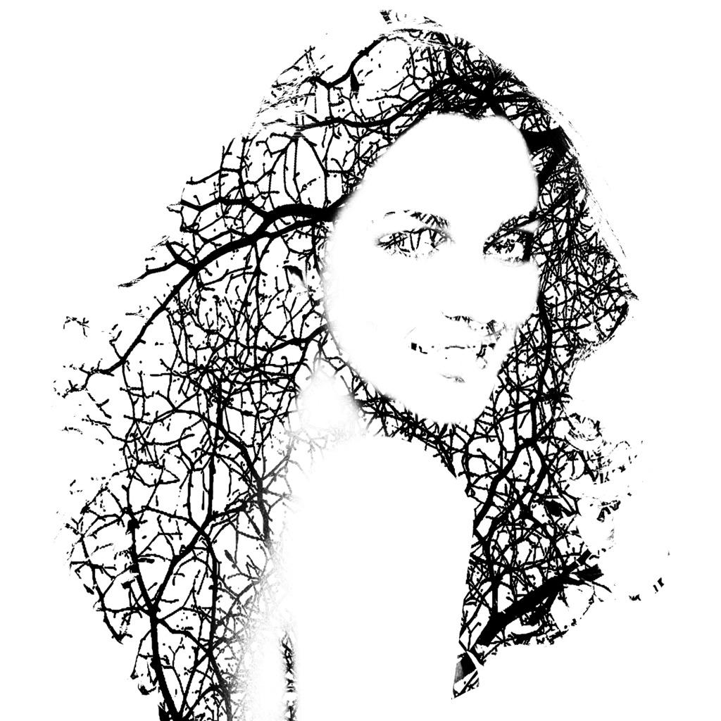剪影 女孩 人物头像 树枝 装饰图案设计 创意图案设计 人物头像 剪影