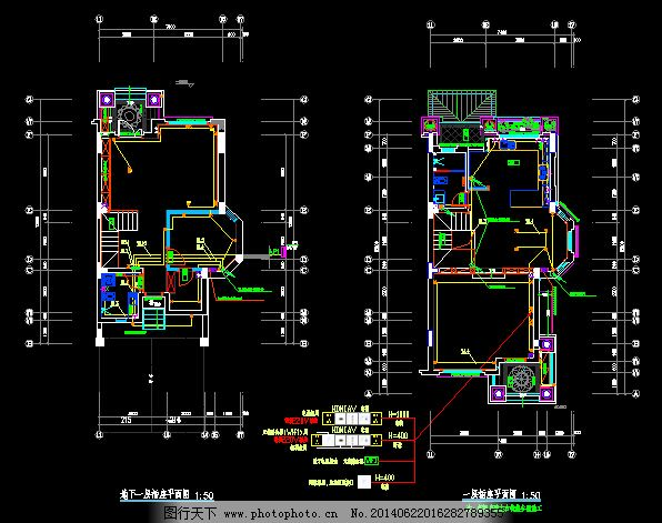 别墅电气插座平面图_室内图纸