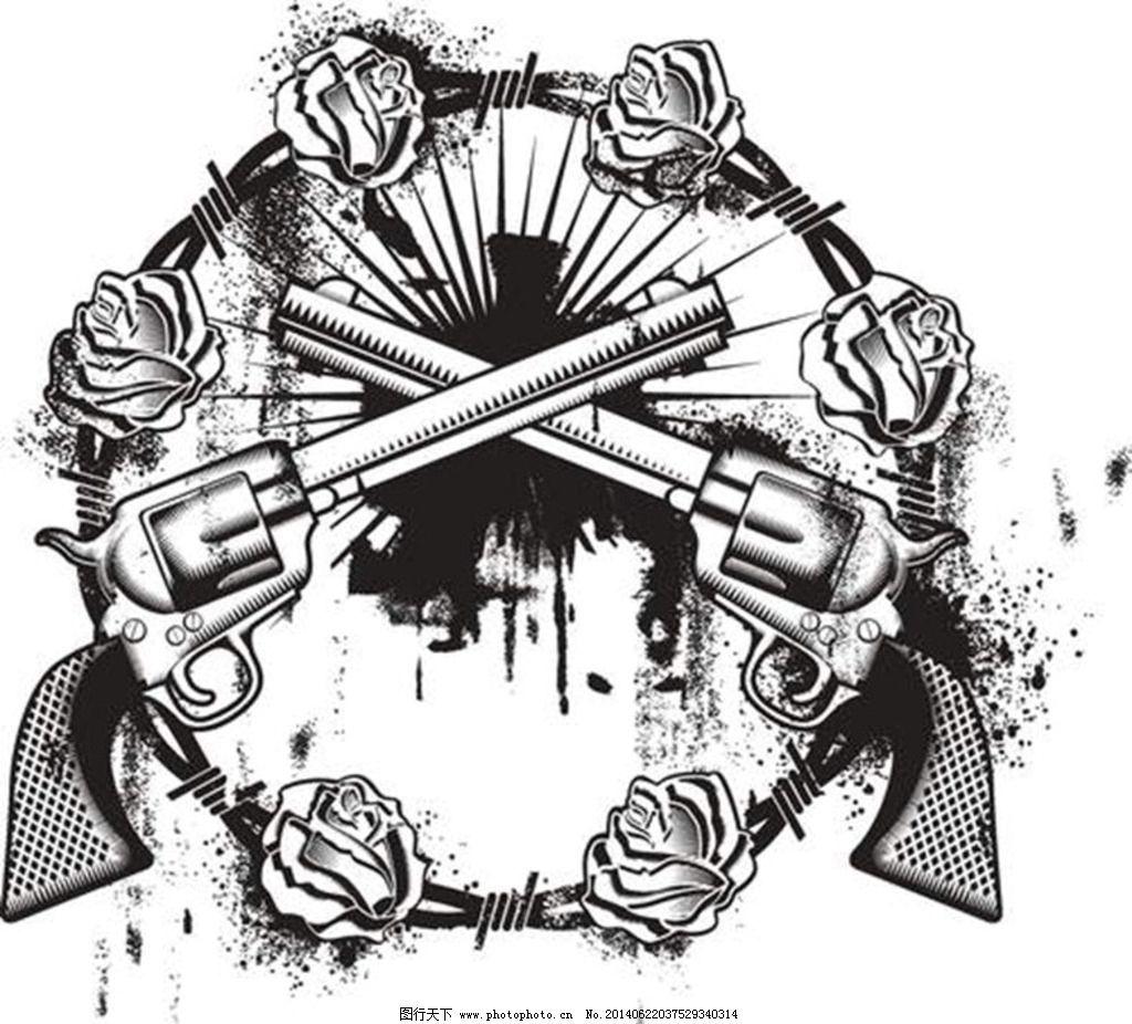 欧式手枪纹身图案