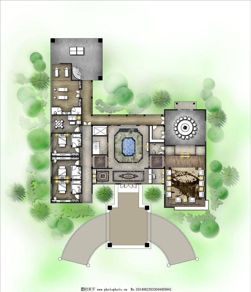某酒店贵宾楼1f 室内设计 彩平图 别墅 酒店设计 室内设计彩平图