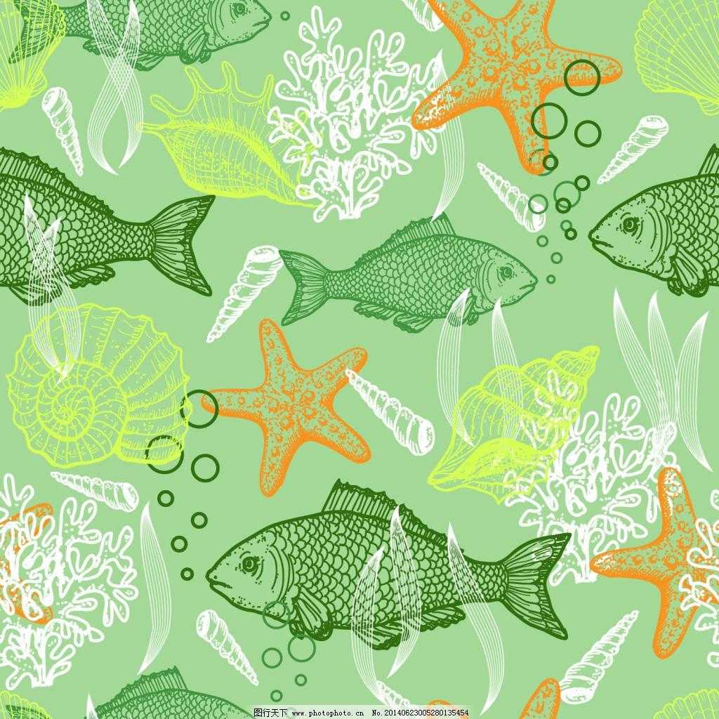绿色手绘海底背景 绿色手绘海底背景免费下载 贝壳 海螺 海星 泡泡
