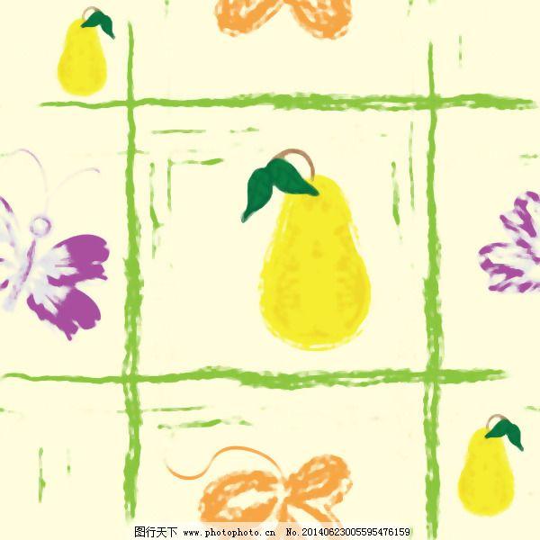 手绘水果背景矢量2