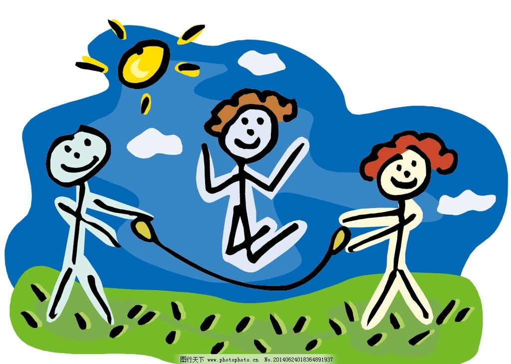 小人物画 跳绳 卡通 太阳 蓝天白云 草地 动漫人物 动漫动画 设计 eps