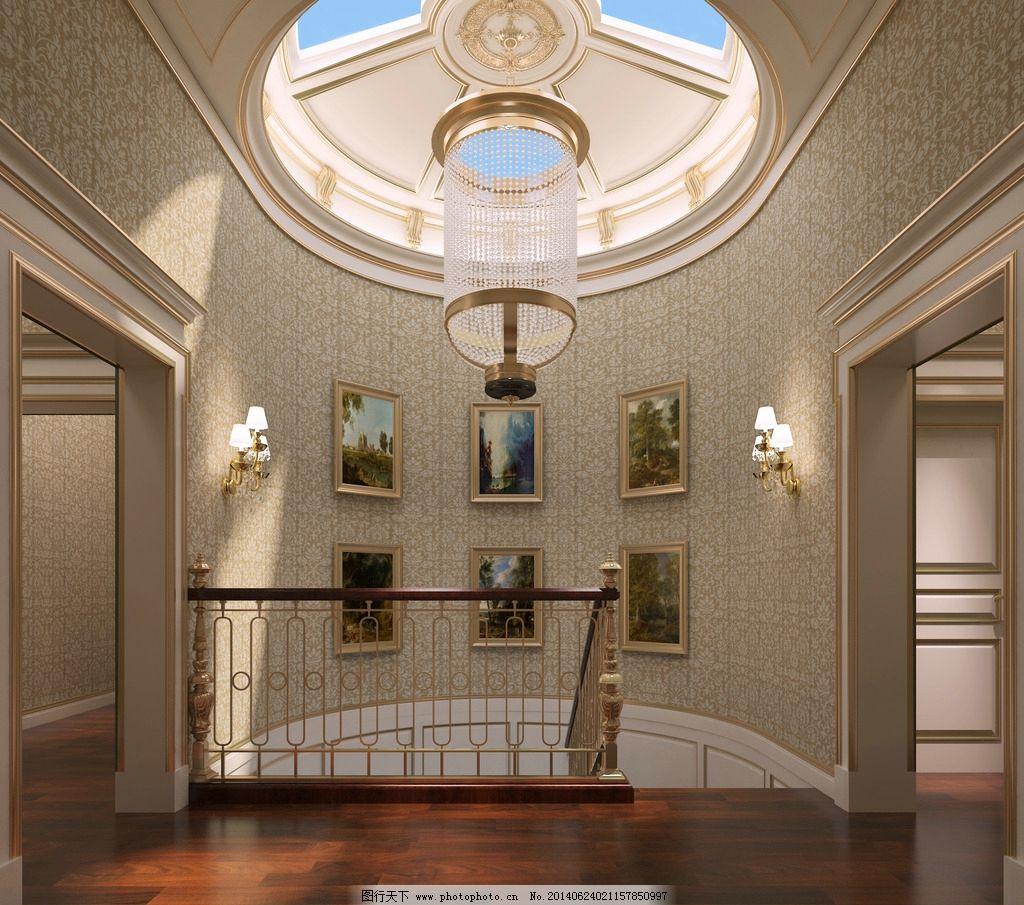 别墅 装饰 效果图图片,欧式天井 楼梯间 共享空间-图
