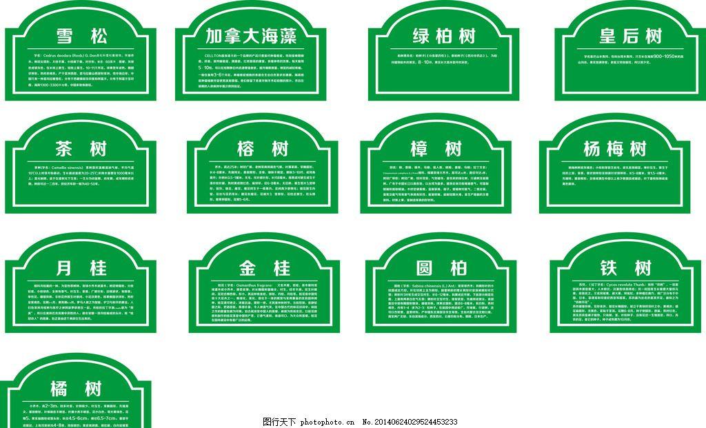 雪松 vi导识牌 单元牌 树牌 铁树 圆柏 广告设计 设计 cdr
